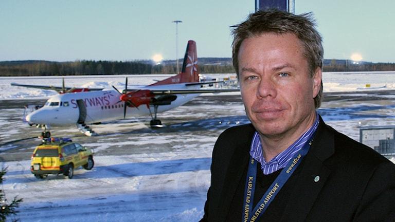 Peter Landmark, chef för flygplatsen i Karlstad. Foto: Torsten Gabrielsson/SR Värmland