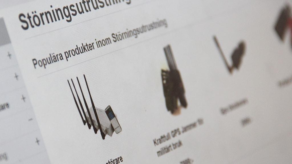 En bild av en sida där störningssändare säljs. Foto: Sveriges Radio.