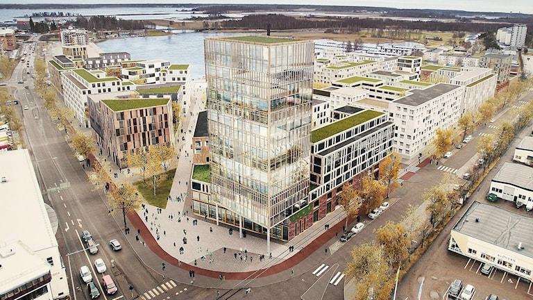 En bild som visar det planerade bostadsområdet på Tullholmen. Illustration: Tovatt Architects & Planners AB