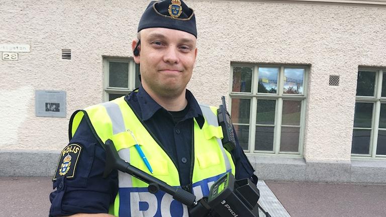 Anders Thelin, trafikpolis i Värmland. Foto: Sara Johansson/Sveriges Radio.