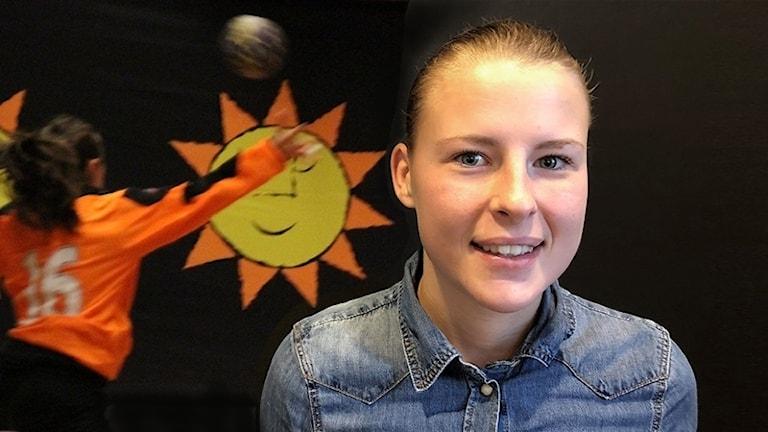 Sofia Lycke, i bakgrunden en handbollsmålvakt. Foto: Sveriges Radio.