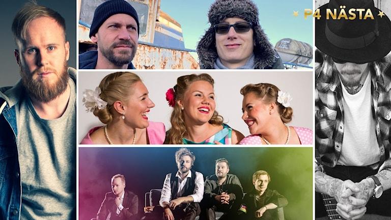 Jakob Nilsson, Northlight, Hebbe Sisters, Fabrikk och John Moon. Foto: Kim Eliasson, John Persson, Christer Lönnroth, Lina Flodins och Helen Persson.