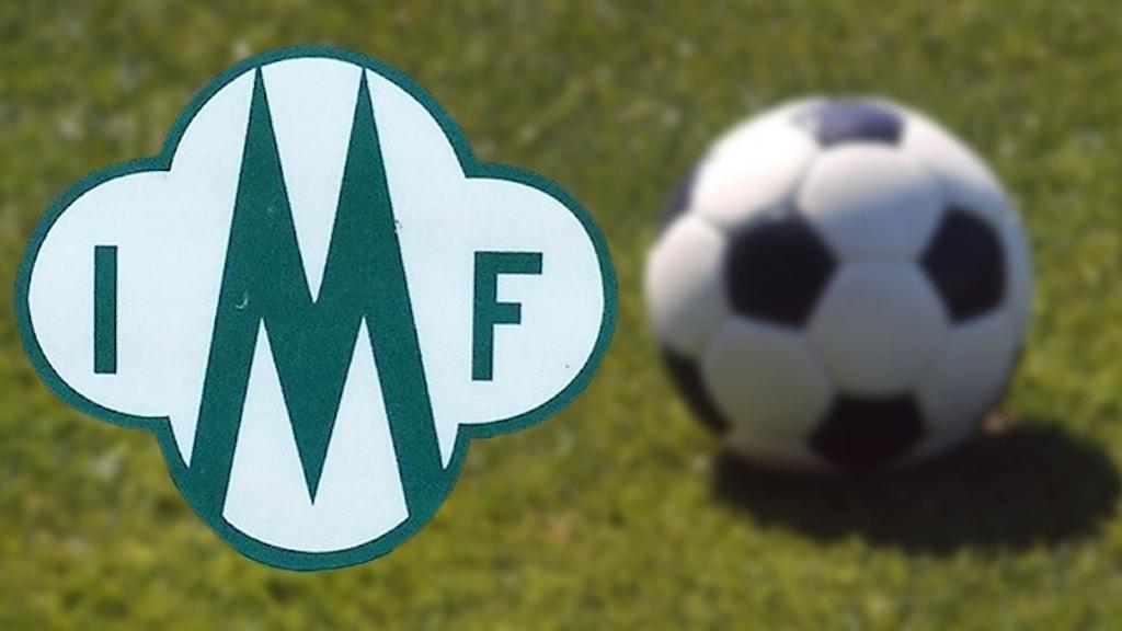 Mallbacken, klubbmärket och en fotboll på en gräsplan. Foto: Sveriges Radio/SVT