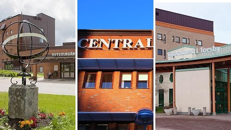 Arvika sjukhus, Centralsjukhuset i Karlstad och Torsby sjukhus. Foto: Landstinget och Sveriges Radio.