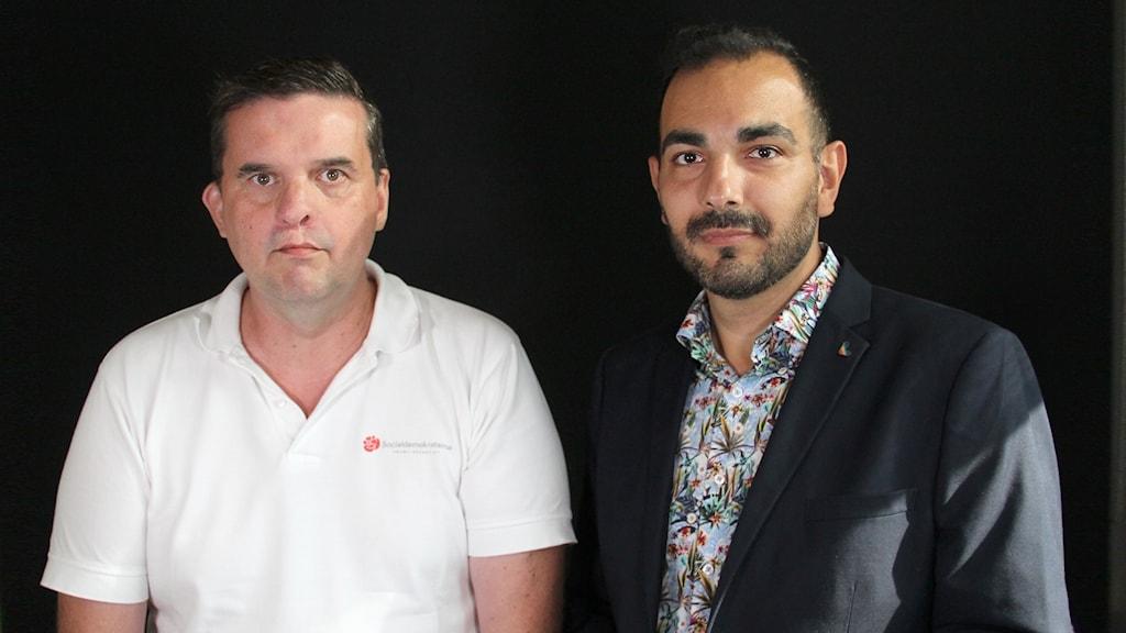 Mikael Dahlqvist (S) och Arman Teimouri (L). Foto: Lars-Gunnar Olsson/Sveriges Radio.