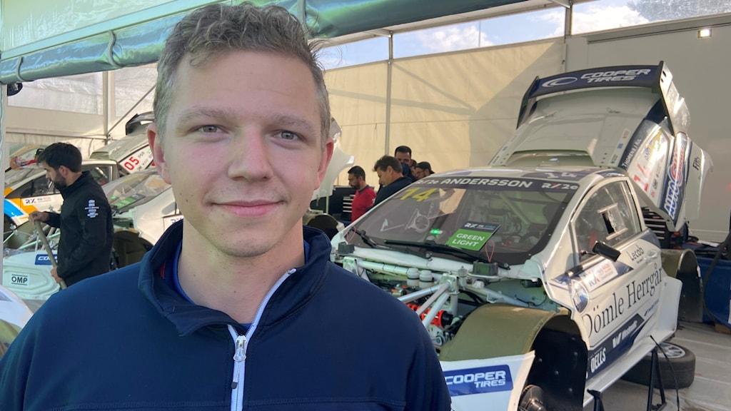Nils Andersson trea inför avslutningsdagen av rallycross VM i Höljes