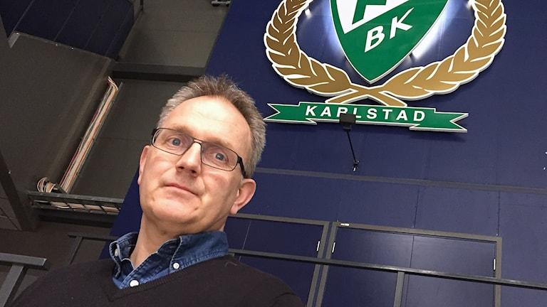 Stefan Larsson, vd Färjestads BK. Foto: Robert Ojala/Sveriges Radio.