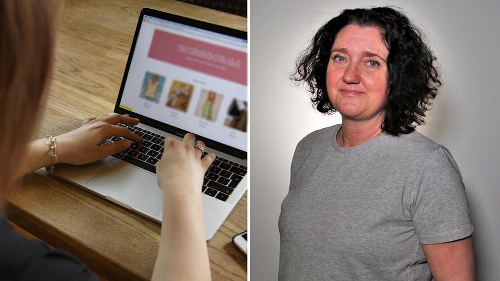 Montage: Persone sitter vid laptop. Kvinna i går t-shirt och mörkt lockigt hår. Foto: Jessica Gow/TT/Frida Granström/Sveriges radio
