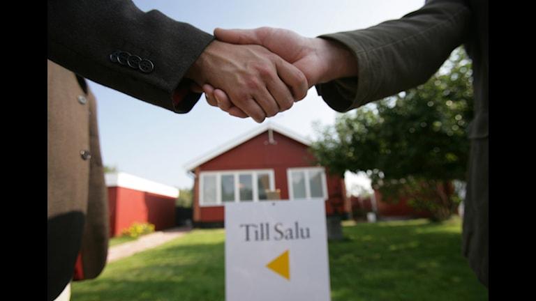 Genrebild köpare säljare skakar hand.
