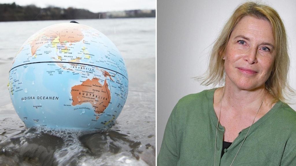collage jordglob och porträttbild på kvinna