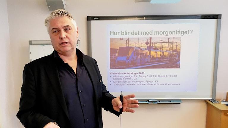 Per Sidetun,  Värmlandstrafiks tågtrafikchef. Foto: Annika Ström/Sveriges Radio.