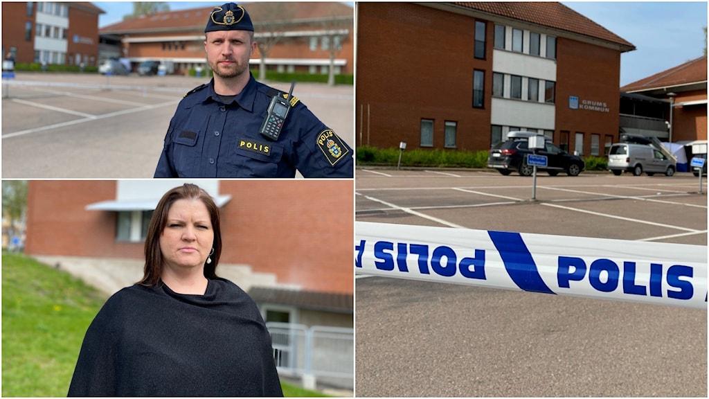 Montage med en polis, en kvinna och ett polisband framför en byggnad.
