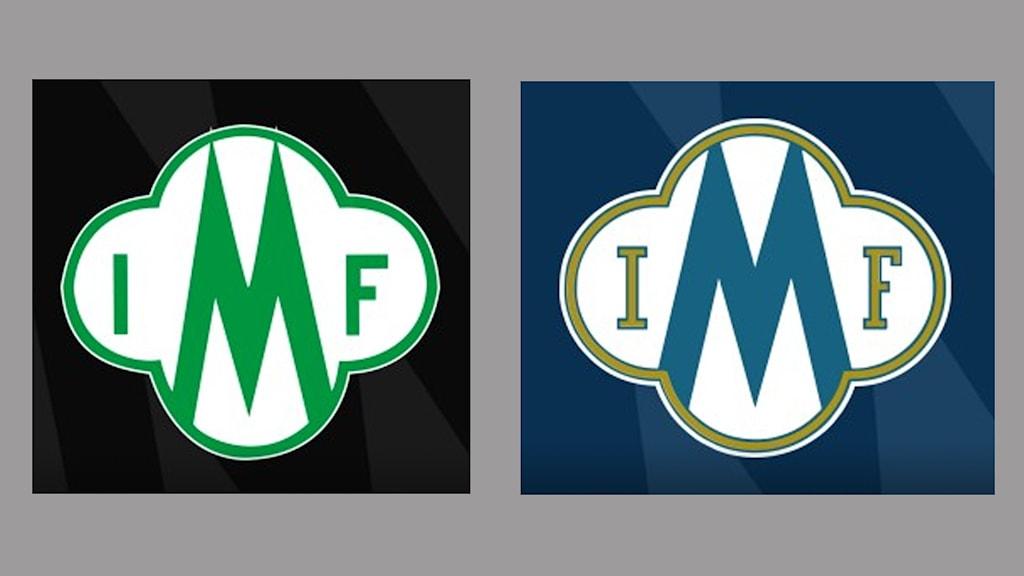 Två klubbmärken som ser exakt likadana ut. Foto: Mallbackens IF och Månsarps IF.