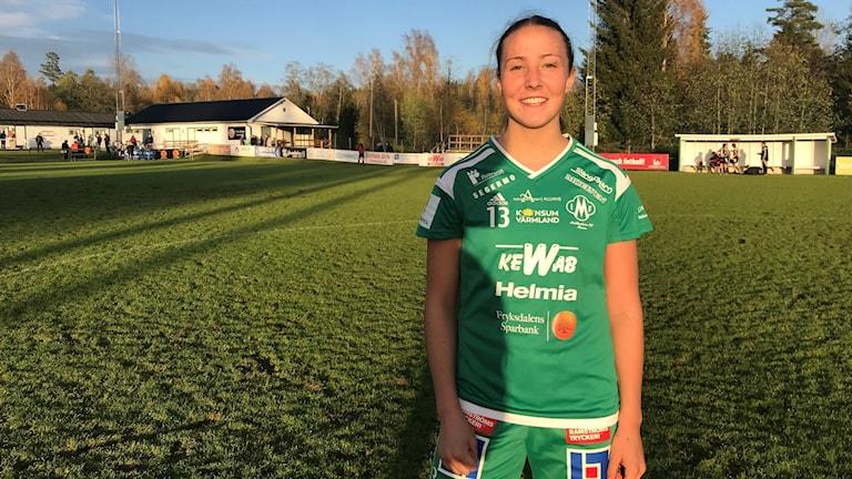 Linnéa Berger efter segern mot Holmalund. Foto: Daniel Viklund/ Sveriges Radio.