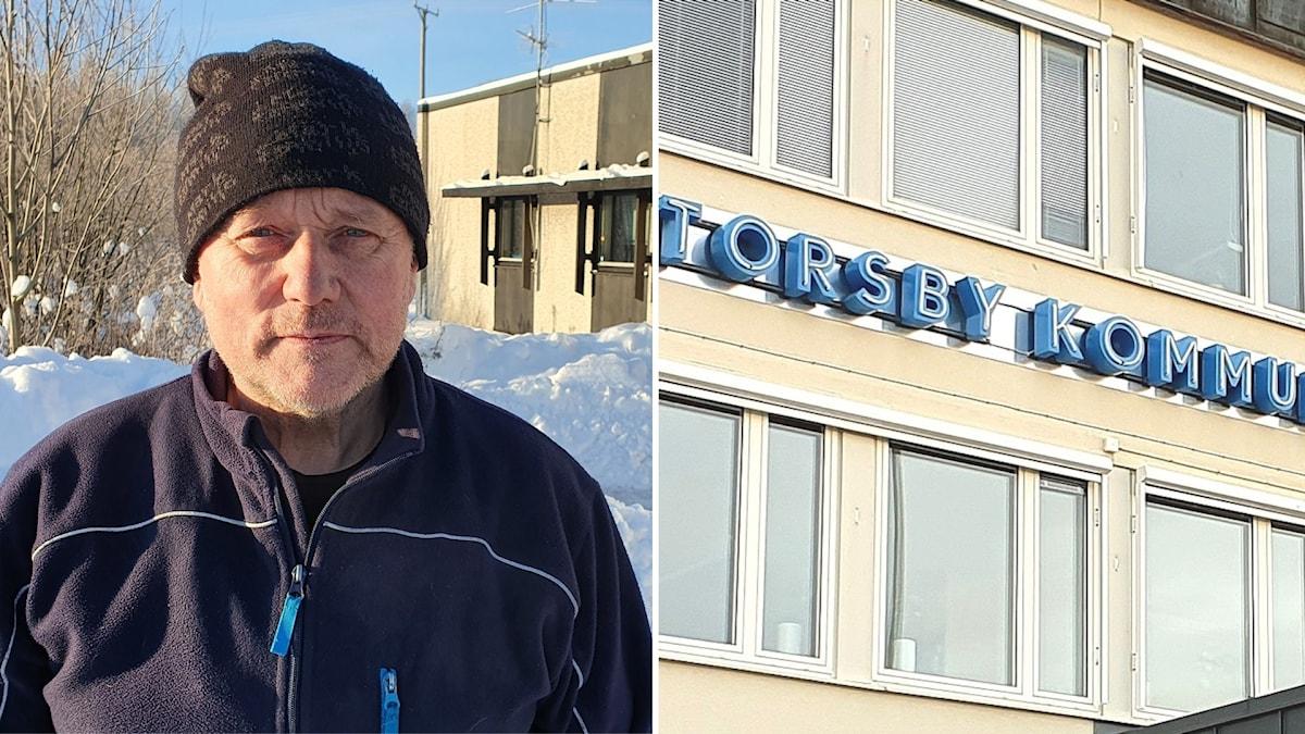 Man i mössa/ Torsby kommunhus fasad. Foto: Aron Eriksson/ Sveriges Radio