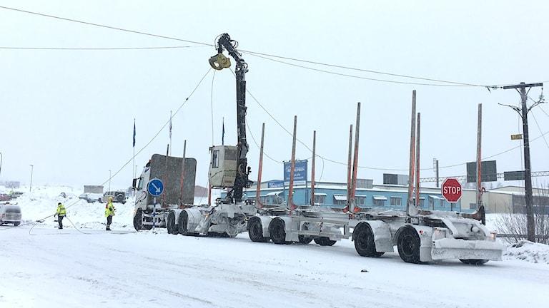 En timmerbil. Foto: Räddningstjänsten i Torsby.