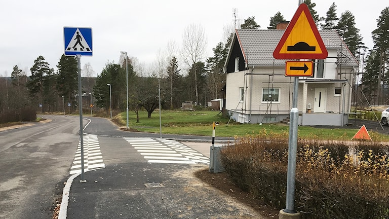 Ett farthinder/övergångsställe i Munkfors. Foto: Per Larsson/Sveriges Radio.