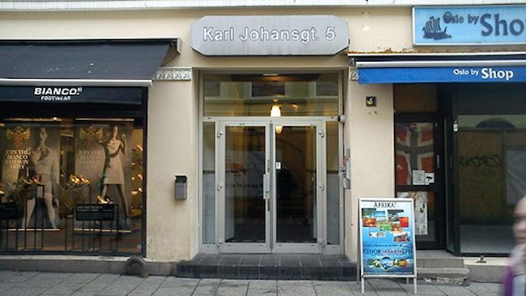 Ingången till Region Värmlands kontor i Oslo. Foto: Torsten Gabrielsson/Sveriges Radio.