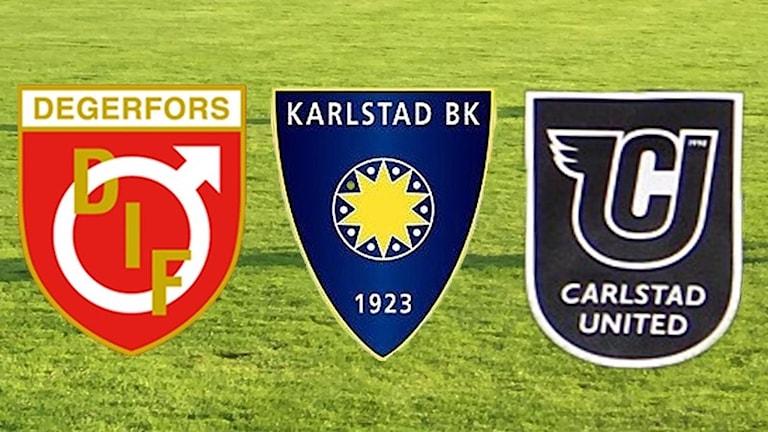 Klubbmärken, Degerfors IF, Karlstad BK och Carlstad United. Foto/Montage: Sveriges Radio.