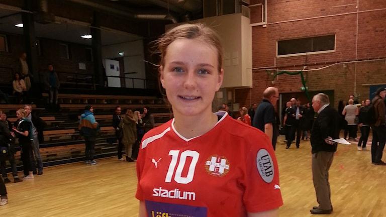 Julia Böjeryd efter en match i Hellton. Foto: Lars Sandberg