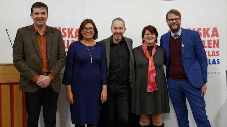 Socialdemokraternas riksdagslista, från vänster: Mikael Dahlqvist, Gunilla Svantorp, Lars Mejern Larsson, Åsa Hååkman-Feldt och Kenneth Johannesson.