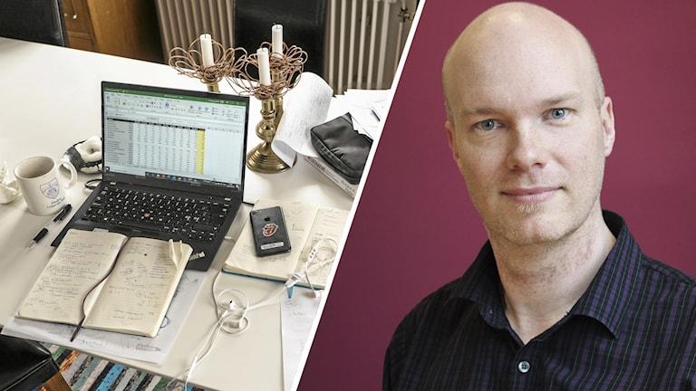 En dator på ett köksbord och Stefan Alfredsson. Foto: Fotograferna Holmberg/TT och Lars-Gunnar Olsson/Sveriges Radio.