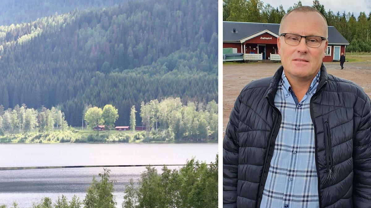 Utsikt över en sjö och Hans Jildesten. Foto: Lars-Gunnar Olsson/Sveriges Radio och Aron Eriksson/Sveriges Radio.