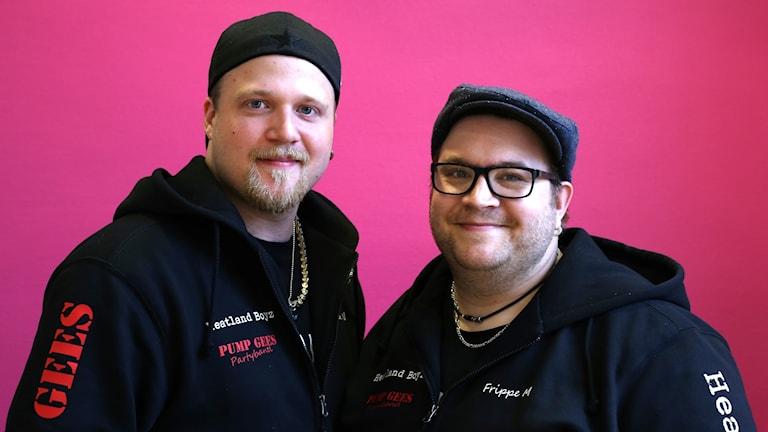 Kevin Björk Nordlund och Fredrik Frippe Myrer i Heatland Boyz i P4 Nästa vid den rosa väggen.