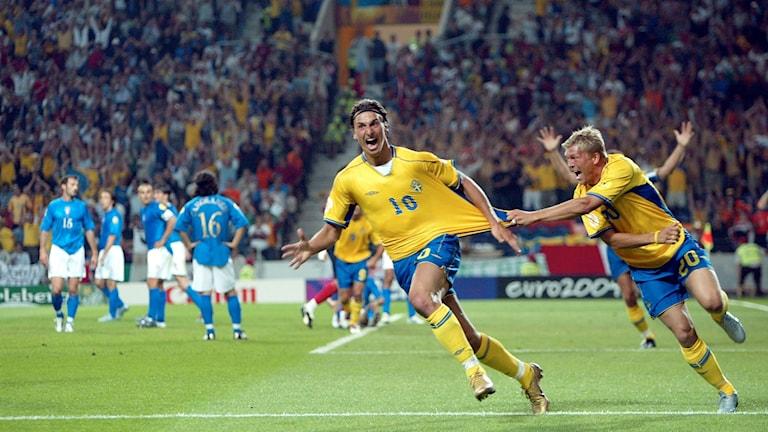 Jubel i svenska laget efter Zlatans klassiska kvitteringsklack mot Italien i EM 2004.