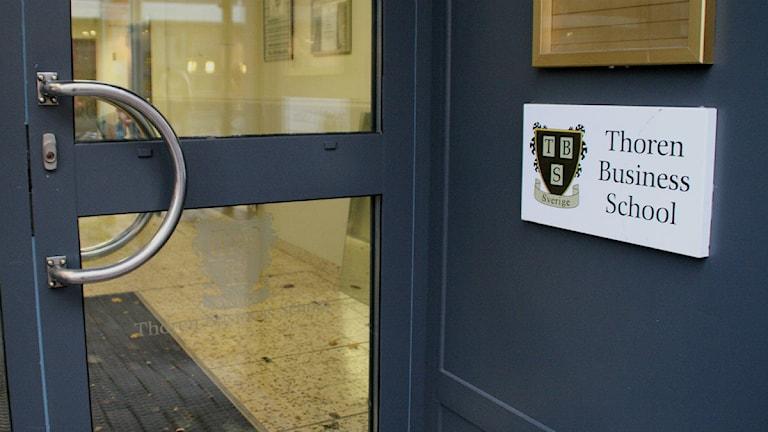 Entrén till friskolan Thoren business school i Karlstad. Foto: Magnus Hermansson/Sveriges Radio.