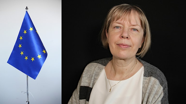 EU:s flagga och Marina Tuutman. Foto: Fredrik Sandberg/TT och Lars-Gunnar Olsson/Sveriges Radio.
