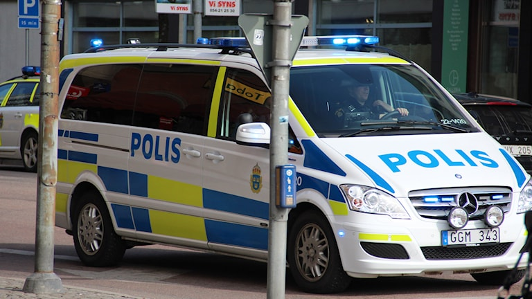 En polisbil. Foto: Lars-Gunnar Olsson/Sveriges Radio.