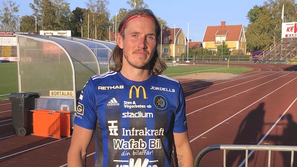 Karlstad fotboll, David Johannesson .Foto: Joakim Lindström/Sveriges Radio.