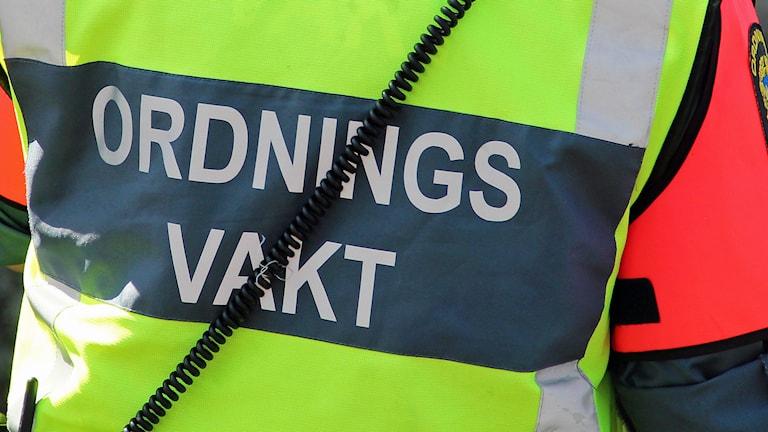 En ordningsvakt. Foto: Lars-Gunnar Olsson/Sveriges Radio.