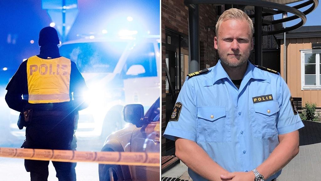 collage polisman och avspärrning
