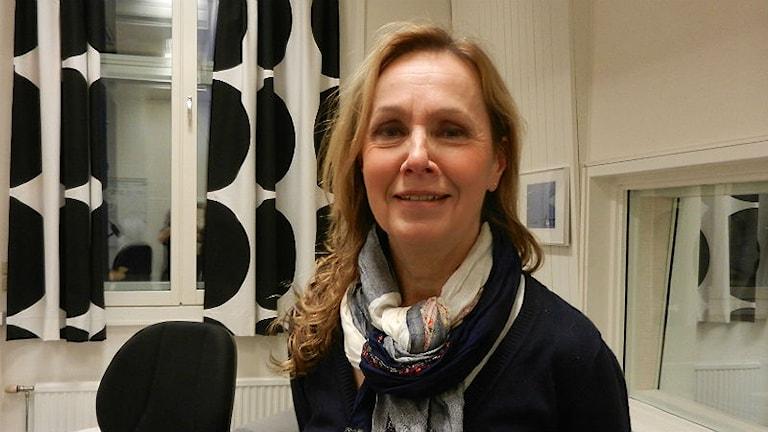 Carola Carlsson, beteendevetare och psykoterapeut pratade om ensamhet i studion. Foto: Hedvig Nilsson
