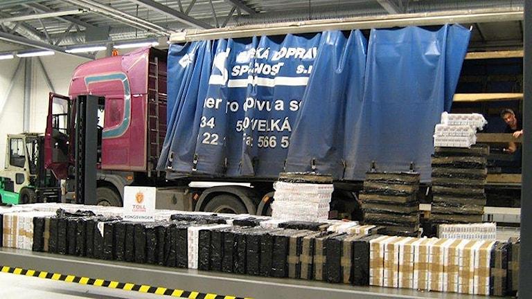 En lastbil med gods. Foto: Norska tullen.
