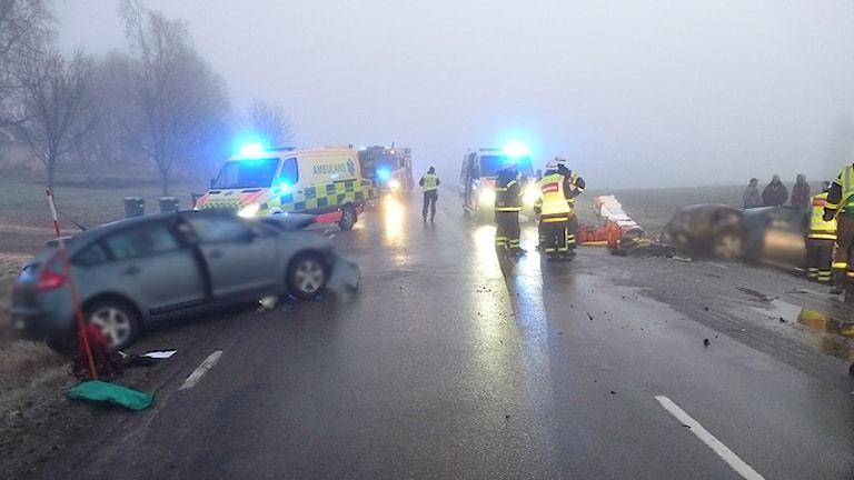 En olycksplats. Foto: Räddningstjänsten