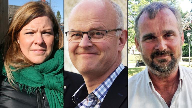 Maria Frisk (MP), Dag Rogne (C) och Per Gruvberger (S). Foto: Sveriges Radio.