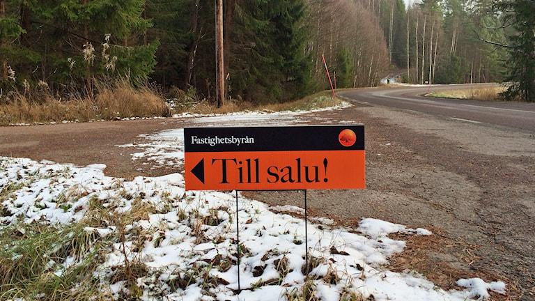 En till salu-skylt i en vägkorsning på landet. Foto: Annika Ström/Sveriges Radio.