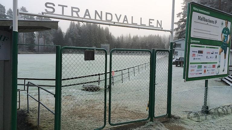Entrén där man ser hela Strandvallen. Foto: Mats Fagerström/Sveriges Radio.