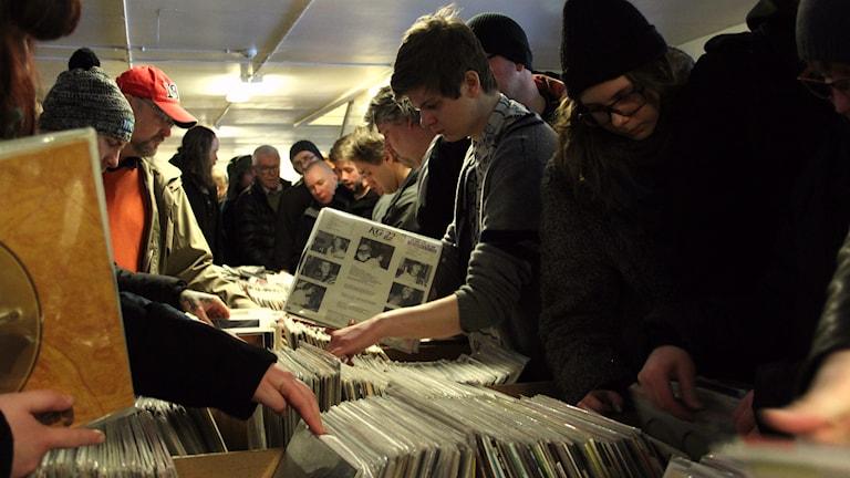 Nästan 5000 LP- och CD-skivor såldes under lördagen. Foto: Lina Alexandersson/Sveriges Radio.