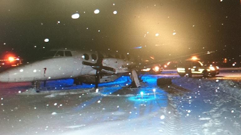 Avåkning på Torsby flygplats. Foto: Torsby flygplats.