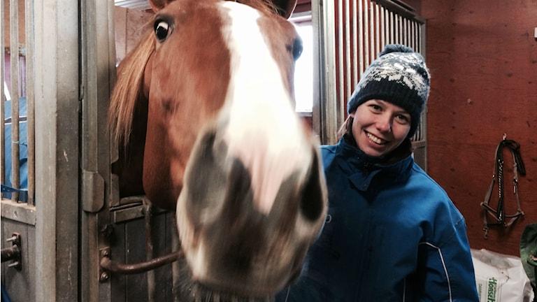 Anna-Ida Persson jobbar som hästskötare på stall Goop och har hand om åtta av stallets 130 hästar.