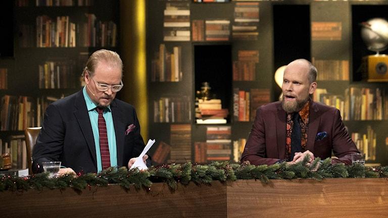 Fredrik Lindström och Kristian Luuk i På Spåret. Foto: Björn Larsson Rosvall/TT.