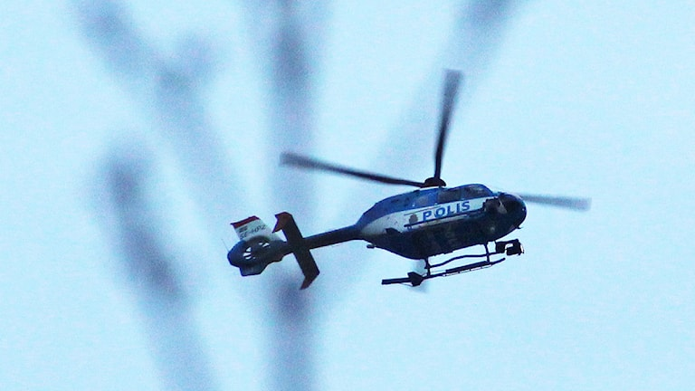 En polishelikopter. Foto: Lars-Gunnar Olsson/Sveriges Radio.