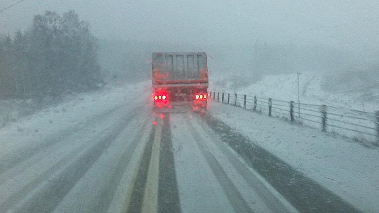 En lastbil kör på en väg i snöfall. Foto: Lars-Gunnar Olsson/Sveriges Radio.