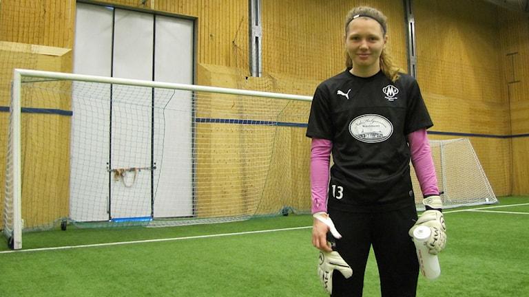 Mallbackens målvakt Jennifer Falk. Foto: Magnus Hermansson/Sveriges Radio.