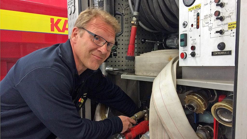 Morgan Palmquist, Räddningstjänsten Karlstadsregionen. Foto: Örjan Bengtzing/Sveriges Radio.