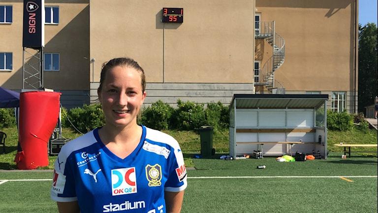 Sofie Ask, QBIK, efter segern mot Lidköpings FK. Foto: Daniel Viklund / Sveriges Radio.
